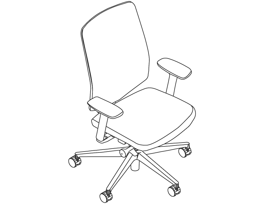 A line drawing - Verus Chair–Suspension Back–Fixed Arms