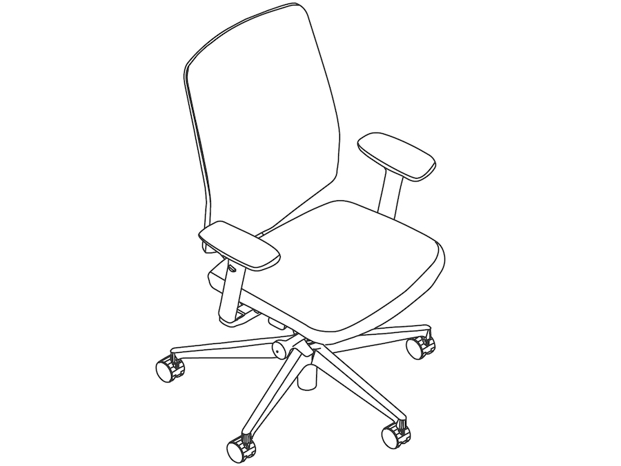A line drawing - Verus Chair–Suspension Back–Height Adjustable Arms