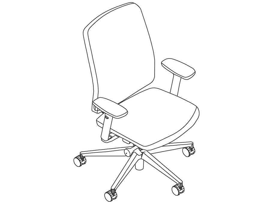 A line drawing - Verus Chair–Upholstered Back–Height Adjustable Arms