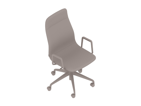 A generic rendering - Viv High-Back Chair–With Arms–5-Star Caster Base