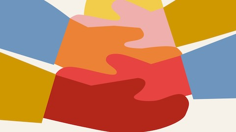 An abstract illustration of many different-colored hands joining together to lift up the sun.