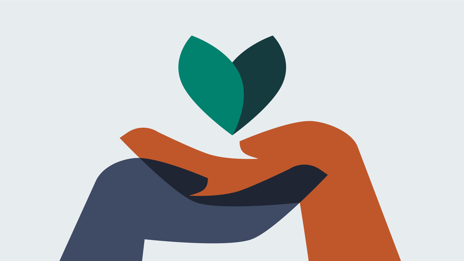 An illustration of two hands, one dark blue, the other burnt orange, lifting up a green leaf symbol.