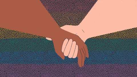 An illustration of two holding hands over a rainbow dot pattern.