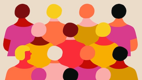 An abstract illustration of people in multiple colors.