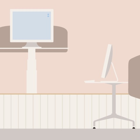 An illustration of a Locale workspace with an adjustable desk positioned at standing height.