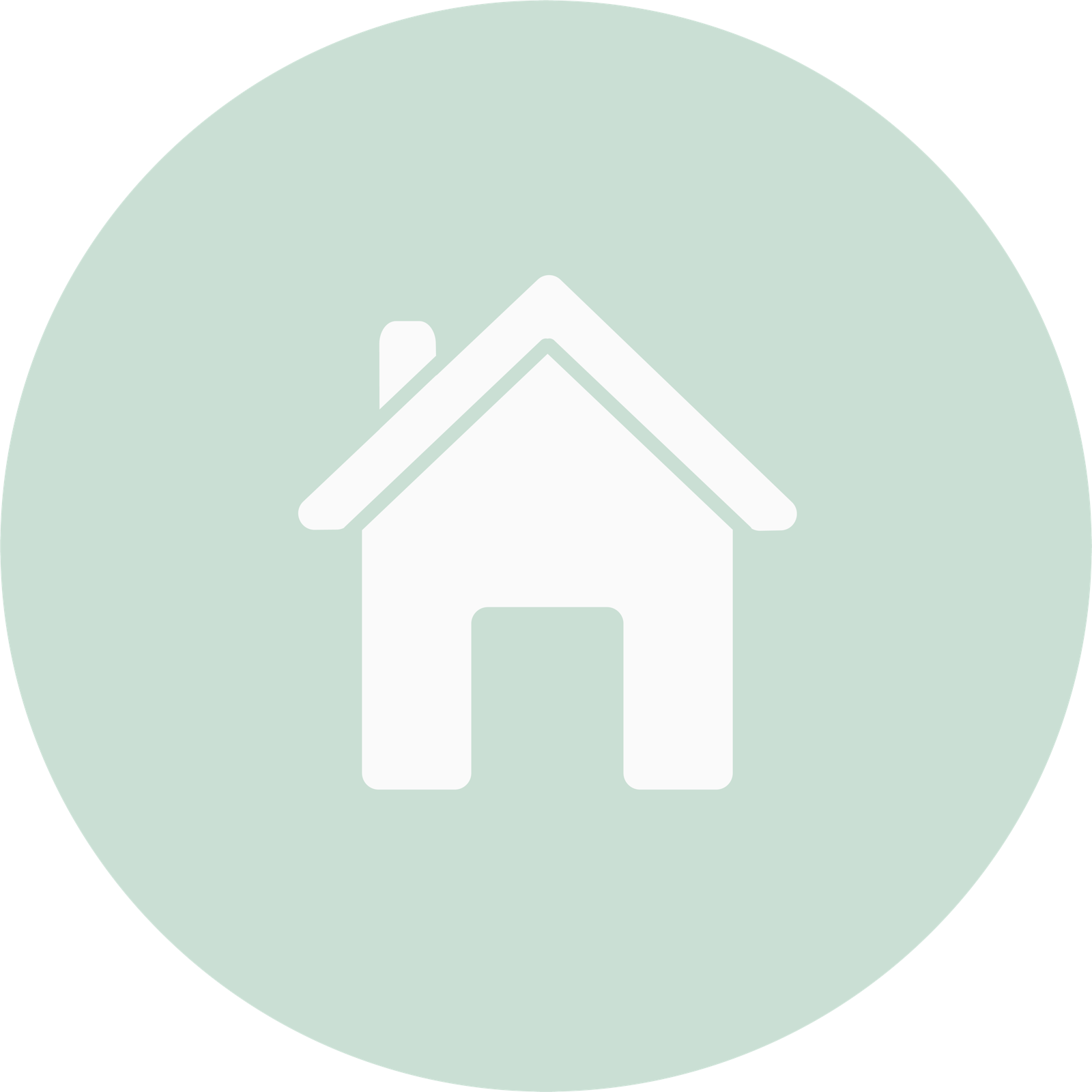 white icon of a house within a circle