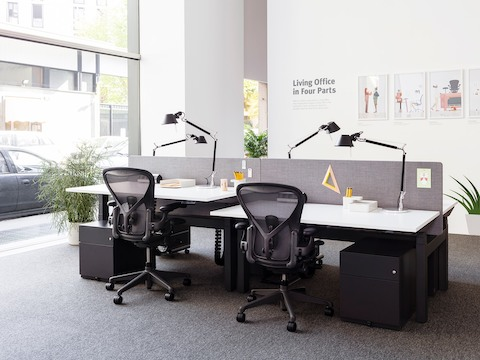 Two workpoints in a benching setup, with desks and black Aeron office chairs positioned at different heights.
