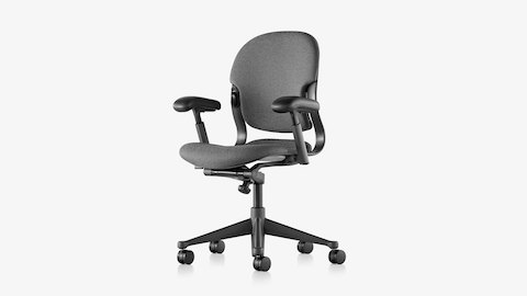 An Equa 2 ergonomic office chair with black frame and base and charcoal upholstery, viewed from an angle.