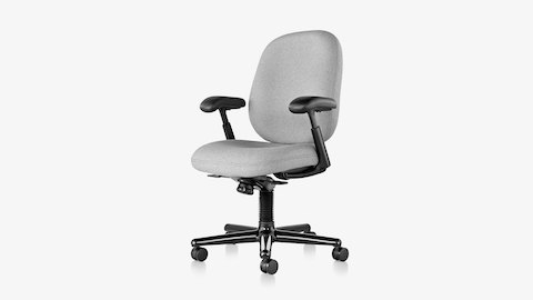 An Ergon 3 ergonomic desk chair with black frame and base and light gray upholstery, viewed from an angle.