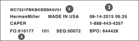 A sample Herman Miller product label, showing the locations of the Model Number, Manufacturing Date, and FO Number.