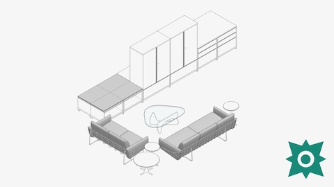An overhead view of a lounge area with wireframe couches, a Noguchi coffee table and a storage unit with integrated seating and a Revit Add-In symbol in the bottom right corner.