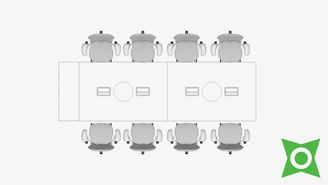 An overhead view of a conference table with Mirra 2 Chairs and a CAD Pack for AutoCAD Add-In symbol in the bottom right corner.