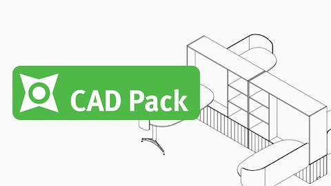 Black and white wireframe drawing of a set of Locale workstations with storage units, viewed from an angle, with a light green CAD Pack badge.