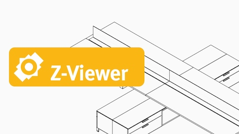 Black and white wireframe drawing of a set of Layout Studio workstations with storage units, viewed from an angle, with a yellow Z-Viewer badge.