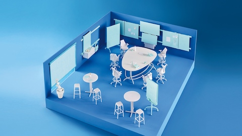 A blue model of a collaborative space with a white Exclave standing-height table surrounded by white Sayl stools.
