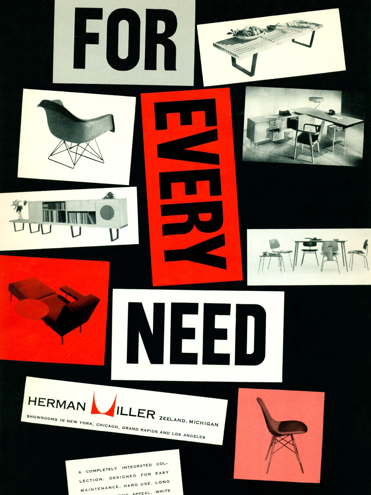 A poster showing photos of various mid-century modern furniture pieces.