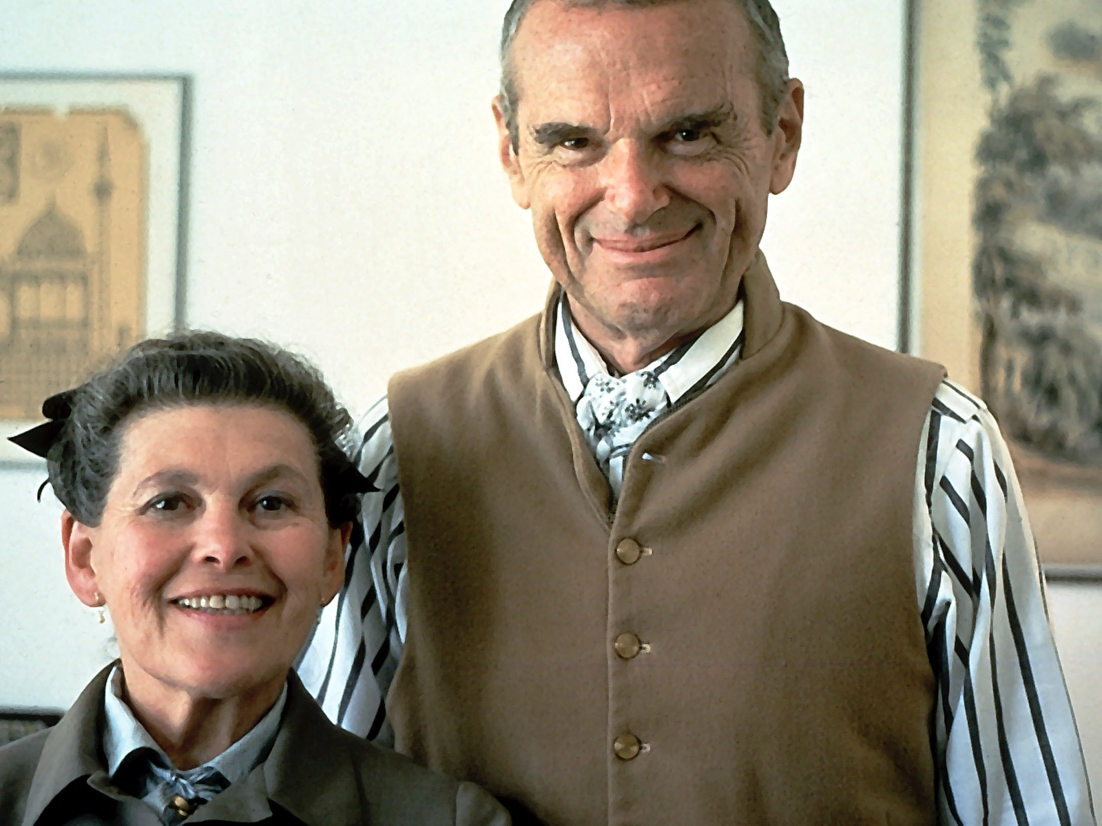 Ray and Charles Eames, designers of the Eames Molded Wood Stool.