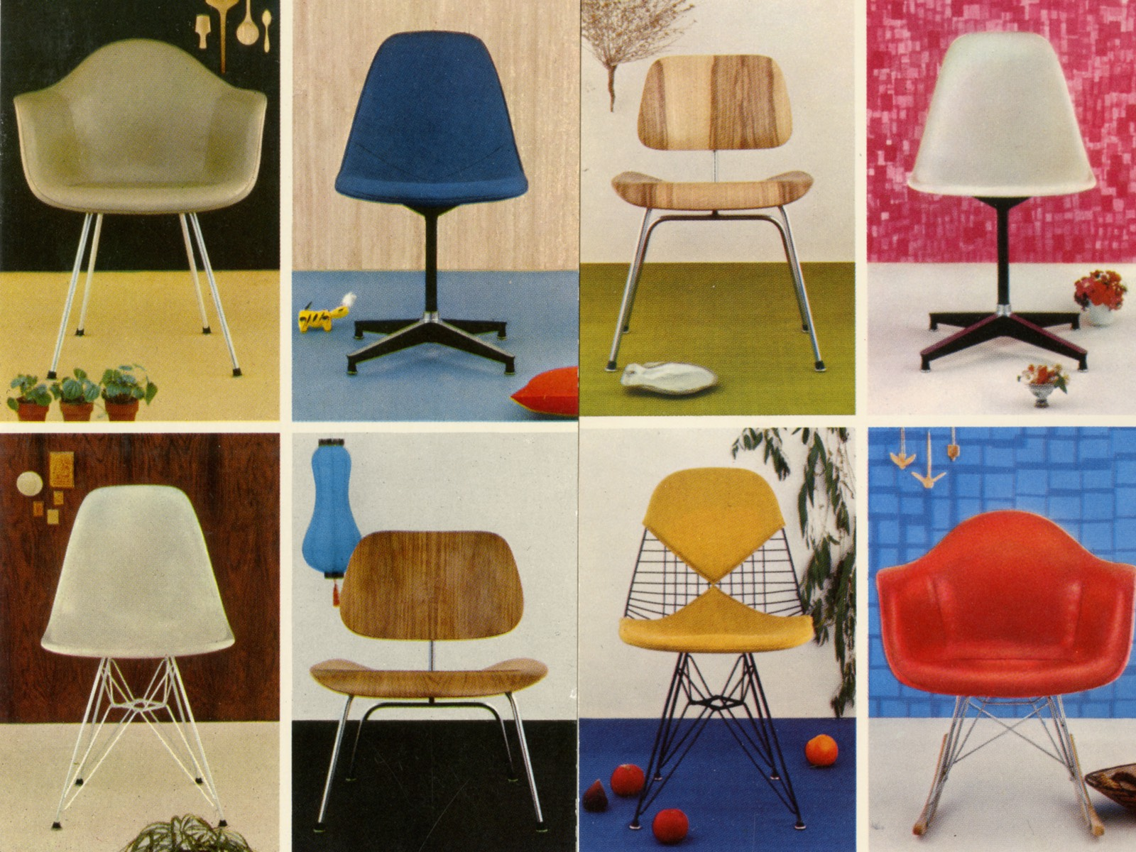 Historical images of eight chairs designed by Charles and Ray Eames.
