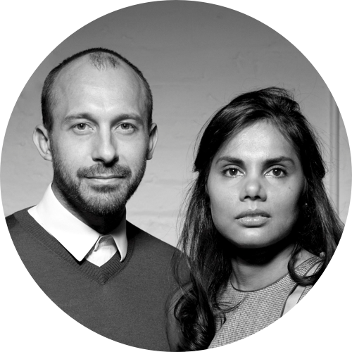 A black-and-white headshot of designers Nipa Doshi and Jonathan Levien from Doshi Levien.
