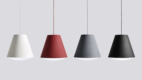 Four Sinker pendants in white, burgundy, steel blue, and black hang in a row.