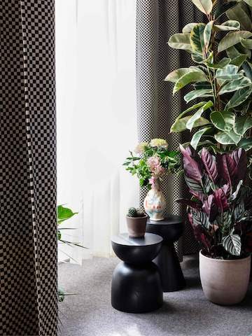 A close-up image of a group of potted plants and two black Hew Side Tables next to window covered by a black and white checkered curtain.