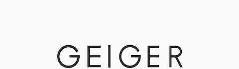 Geiger logomark. Geiger makes exquisitely crafted designs for refined working environments. The company is headquartered in Atlanta, Georgia.