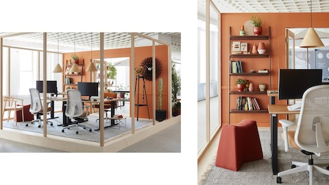 Two images of an indoor/outdoor office space with Motia Sit-to-Stand Tables, Lino office chairs, hanging Hay pendant lamps, and potted cacti.