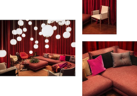 Three images of a lounge space containing a large, red Lecco Open Sectional with an ottoman; a multitude of Nelson Bubble Lamps hanging from the ceiling; a mix of red, pink, and brown textured pillows; Eames Walnut Tables with flowers; and two Hay About A Lounge Chairs in orange and cream.