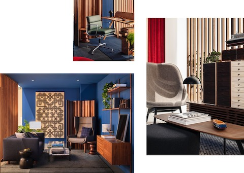 Three images of a private office setting featuring an Eames Soft Pad Management Chair and Eames Walnut Stool; a Hush Chair and an Eames Molded Plywood Screen; and a side chair.