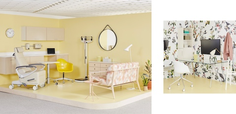 Two images of a workplace wellness space with two rooms: one is an exam space with bright yellow walls, Mora System wall-mounted workstation, a yellow Eames Task Chair on casters, an Ava Recliner, and a Palissade Settee with pink pattern upholstery; and the other room is a clinician's office with floral wallpaper, a glass-topped Magis Baguette Table, a white Taper Chair, a white Magis Steelwood Coat Stand, and a gray Palissade bench.