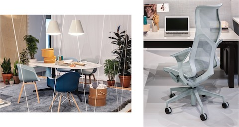 Two images of an office space with About A Chairs and Eames Molded Plastic Chairs in shades of blue pulled up to a white oval Nelson Pedestal Table with a white marble top. Two white Sinker Pendants hang above the table. A Glacier High-Back Cosm Chair is next to a Canvas Vista office desk.