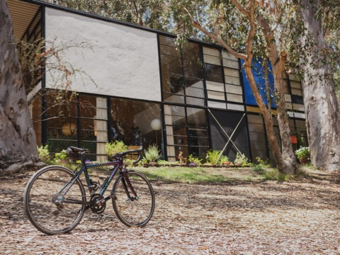 A bicycle sits outside the modern Eames House in Pacific Palisades, California.