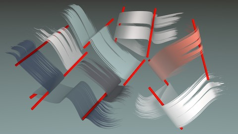 A stylized illustration of banners of various shades of blue, gray, and red, flowing over red lines.
