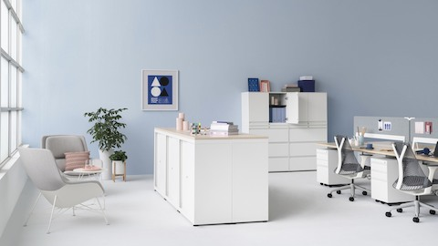 An open office with CK Storage cabinets and lateral files. Select to go to the CK Storage product page.