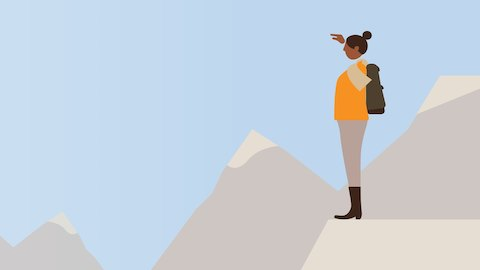 An illustration of a woman standing in a mountain range. Select to go to an overview of the Living Office.