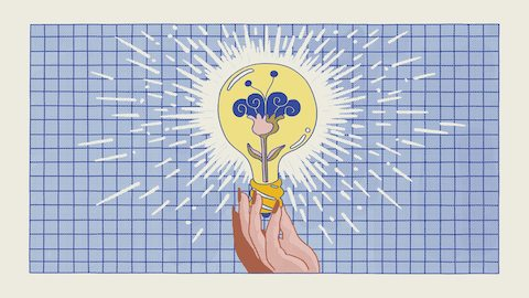 An illustration of a hand holding a yellow lightbulb with pink and purple flower growing on the inside. Select to read the story.