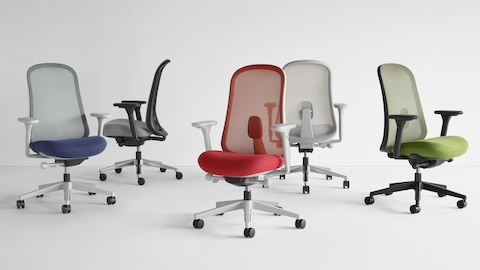 Five Lino chairs in blue, black, grey, red, and green viewed from various angles. Select to go to the Lino product page.