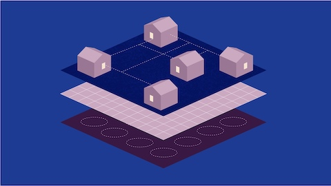 An abstract illustration of light pink houses and buildings floating over a grid on a blue background.