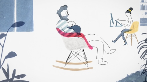 Select this illustration of a young family to learn how Eames Shell Chairs touch every stage of life.