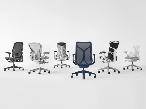 Six performance work chairs including the Embody chair, Mirra 2 Chair, Sayl Chair, Cosm Chair, Aeron Chair, and Celle Chair in multiple angles and material/color finishes.