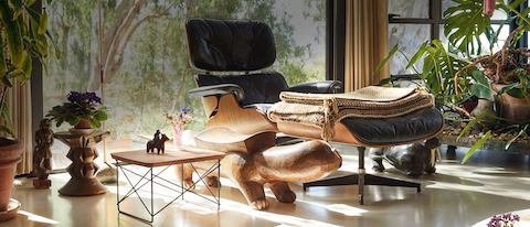 Eames Lounge and Ottoman seen at a three-quarter angle next to an Eames Eucalyptus LTR in a bright room full of plants.