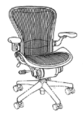 A black-and-white trade dress featuring a line drawing of an Aeron Chair.