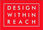 A Design Within Reach logo with white lettering on a red background.