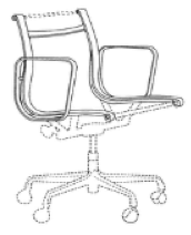 A black-and-white trade dress featuring a line drawing of an Eames Aluminum Group Chair.
