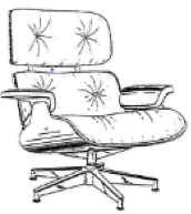 A black-and-white trade dress featuring a line drawing of an Eames Lounge Chair.
