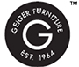 A black logo bearing the words 'Geiger Furniture. Est. 1964'