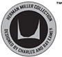 A black-and-gray logo bearing the words 'Herman Miller Collection, Designed by Charles and Ray Eames.'