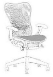 A black-and-white trade dress featuring a line drawing of a Mirra 2 Chair.