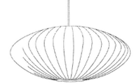 A black-and-white trade dress featuring a line drawing of a Nelson Saucer Bubble Pendant.