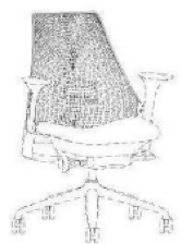 A black-and-white trade dress featuring a line drawing of a Sayl Chair.